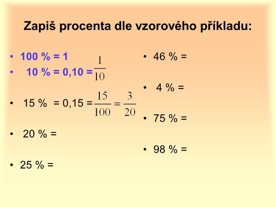 Zapiš procenta dle vzorového příkladu: 100 % = 1 10 % = 0,10 = 15 % = 0,15 = 20 % = 25 % = 46 % = 4 % = 75 % = 98 % =