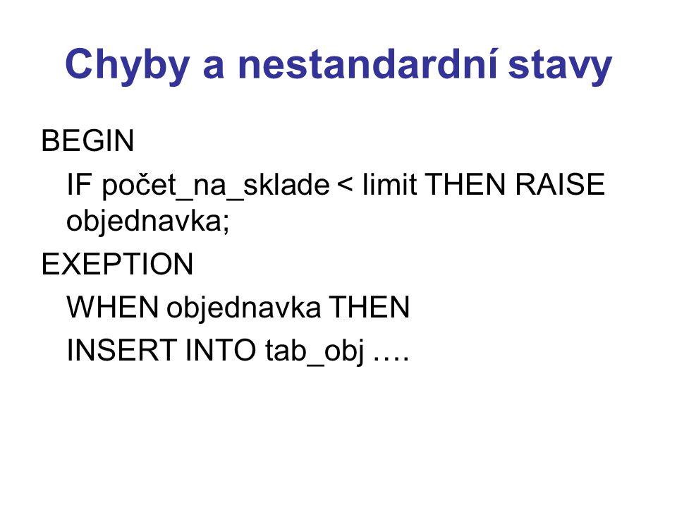 Chyby a nestandardní stavy BEGIN IF počet_na_sklade < limit THEN RAISE objednavka; EXEPTION WHEN objednavka THEN INSERT INTO tab_obj ….