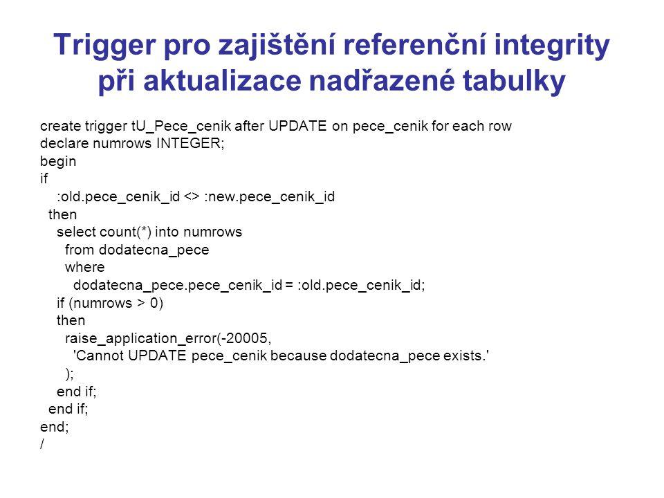 Trigger pro zajištění referenční integrity při aktualizace nadřazené tabulky create trigger tU_Pece_cenik after UPDATE on pece_cenik for each row declare numrows INTEGER; begin if :old.pece_cenik_id <> :new.pece_cenik_id then select count(*) into numrows from dodatecna_pece where dodatecna_pece.pece_cenik_id = :old.pece_cenik_id; if (numrows > 0) then raise_application_error(-20005, Cannot UPDATE pece_cenik because dodatecna_pece exists. ); end if; end; /