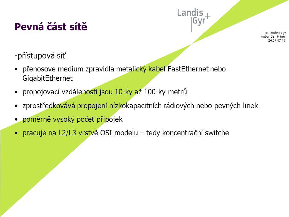 © Landis+Gyr Autor: Jan Háněl 24.07.07 / 27 Jan Háněl Děkuji za Vaši pozornost mail : jan.hanel@iad.czjan.hanel@iad.cz skype: janhanel7 www.routing.cz