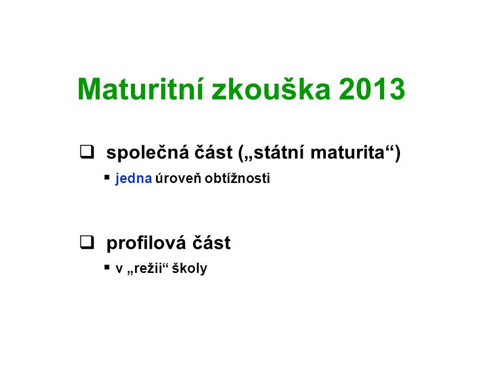 """Maturitní zkouška 2013  společná část (""""státní maturita )  jedna úroveň obtížnosti  profilová část  v """"režii školy"""