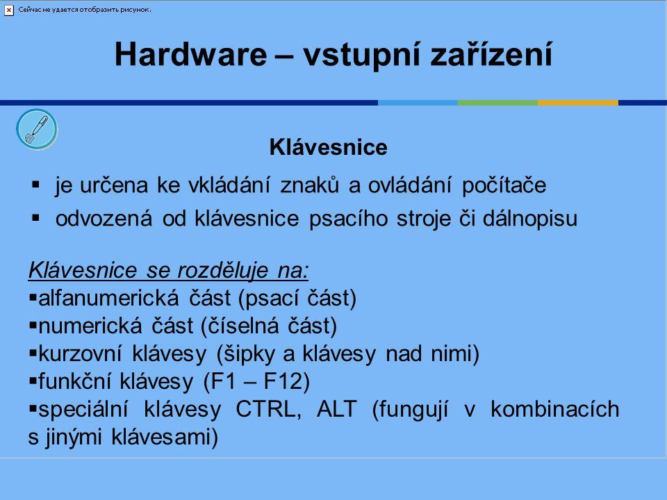 Hardware – vstupní zařízení Klávesnice - rozložení Alfanumerická část Funkční klávesy Kurzovní klávesy Esc– zrušení akce Numerická část Indikátory Speciální klávesy Ctrl a Alt