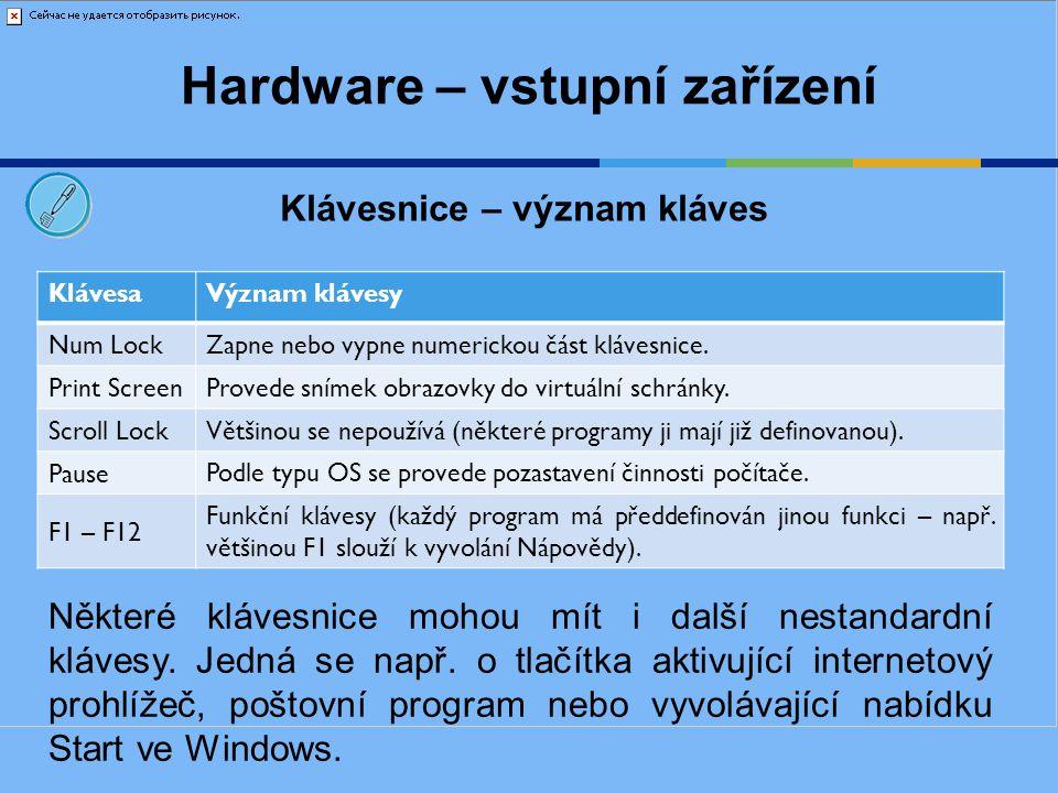 Hardware – vstupní zařízení Klávesnice – význam kláves KlávesaVýznam klávesy Num Lock Zapne nebo vypne numerickou část klávesnice. Print Screen Proved