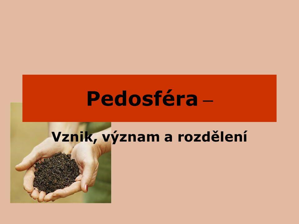 Vymezení pojmů Část zemské kůry pedosféra pedologie Věda zkoumající půdy Půda je důležitým zdrojem obživy člověka