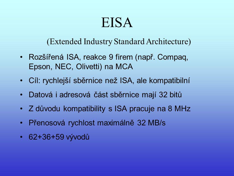 EISA (Extended Industry Standard Architecture) Rozšířená ISA, reakce 9 firem (např. Compaq, Epson, NEC, Olivetti) na MCA Cíl: rychlejší sběrnice než I