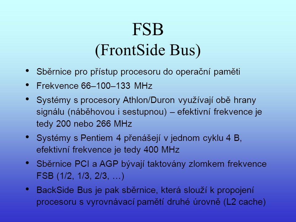 FSB (FrontSide Bus) Sběrnice pro přístup procesoru do operační paměti Frekvence 66–100–133 MHz Systémy s procesory Athlon/Duron využívají obě hrany si
