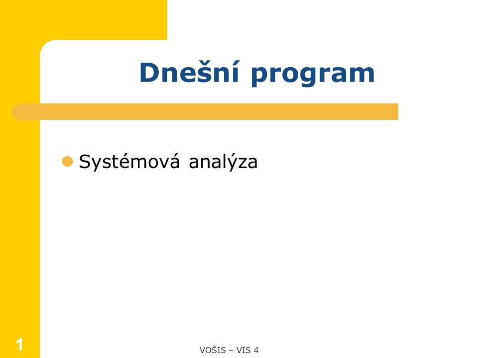 1 Dnešní program Systémová analýza VOŠIS – VIS 4 1