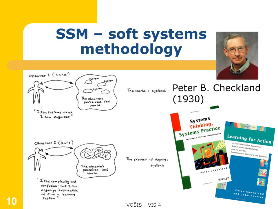 SSM – soft systems methodology Peter B. Checkland (1930) VOŠIS – VIS 4 10