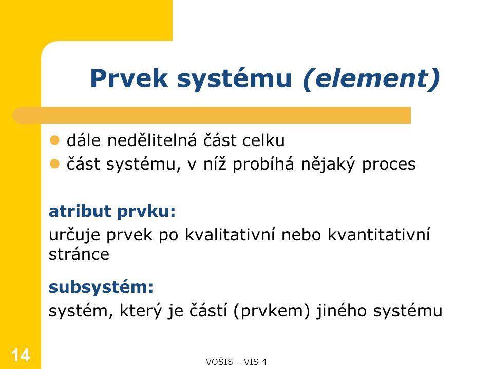 14 Prvek systému (element) dále nedělitelná část celku část systému, v níž probíhá nějaký proces atribut prvku: určuje prvek po kvalitativní nebo kvantitativní stránce subsystém: systém, který je částí (prvkem) jiného systému VOŠIS – VIS 4