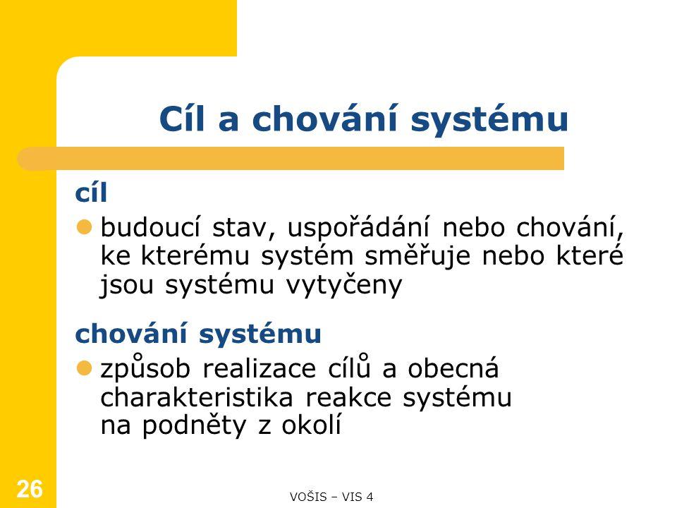 Cíl a chování systému cíl budoucí stav, uspořádání nebo chování, ke kterému systém směřuje nebo které jsou systému vytyčeny chování systému způsob realizace cílů a obecná charakteristika reakce systému na podněty z okolí VOŠIS – VIS 4 26