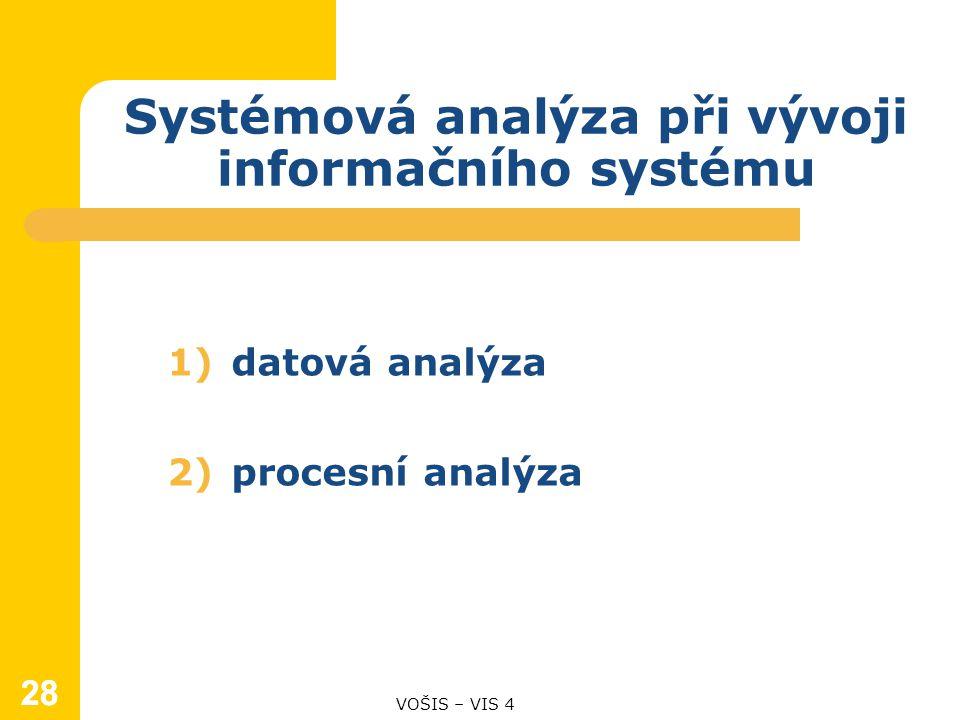 28 1)datová analýza 2)procesní analýza Systémová analýza při vývoji informačního systému VOŠIS – VIS 4 28