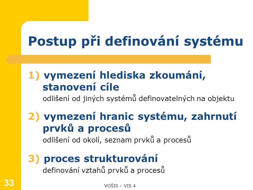 Postup při definování systému 1) vymezení hlediska zkoumání, stanovení cíle odlišení od jiných systémů definovatelných na objektu 2) vymezení hranic systému, zahrnutí prvků a procesů odlišení od okolí, seznam prvků a procesů 3) proces strukturování definování vztahů prvků a procesů 33 VOŠIS – VIS 4