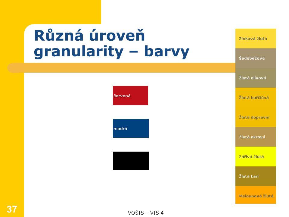 Různá úroveň granularity – barvy 37 VOŠIS – VIS 4