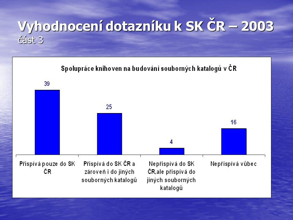 Vyhodnocení dotazníku k SK ČR – 2003 část 3