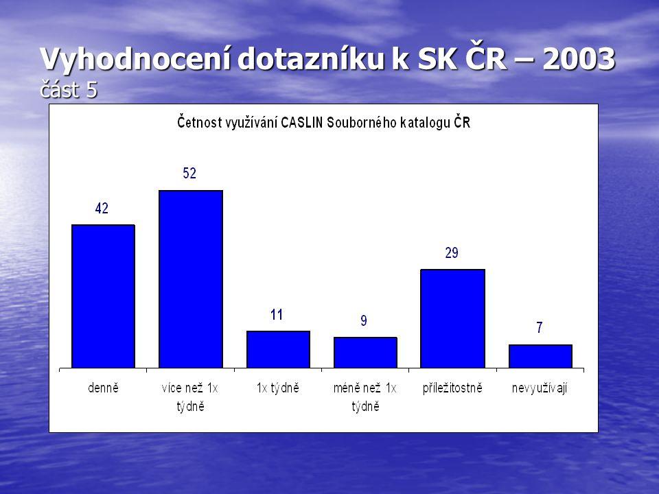 Vyhodnocení dotazníku k SK ČR – 2003 část 5