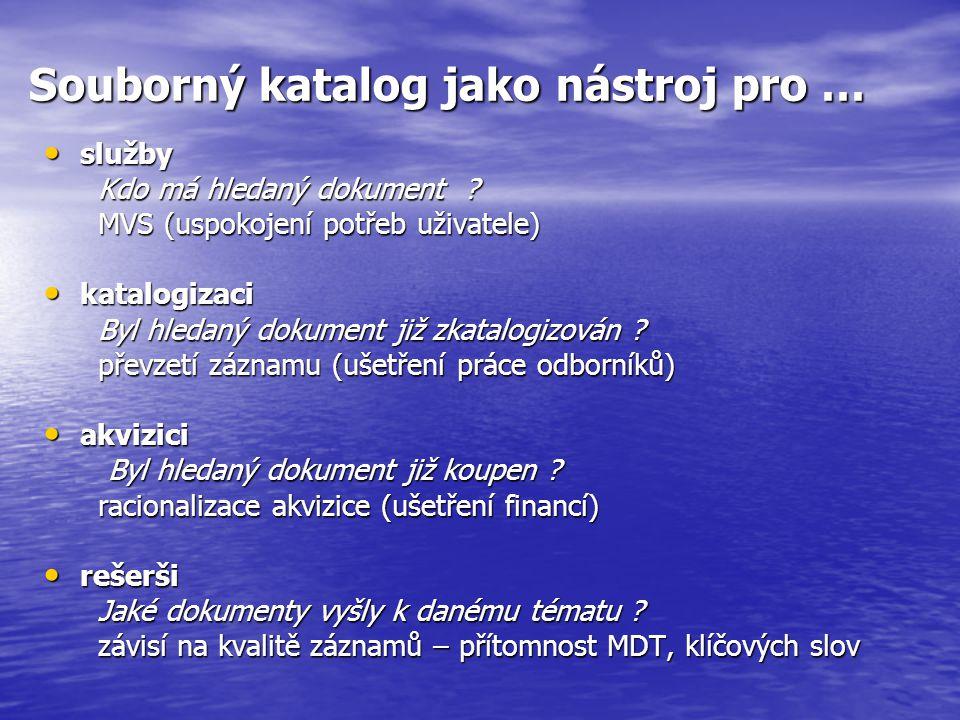 Souborný katalog jako nástroj pro … služby služby Kdo má hledaný dokument .