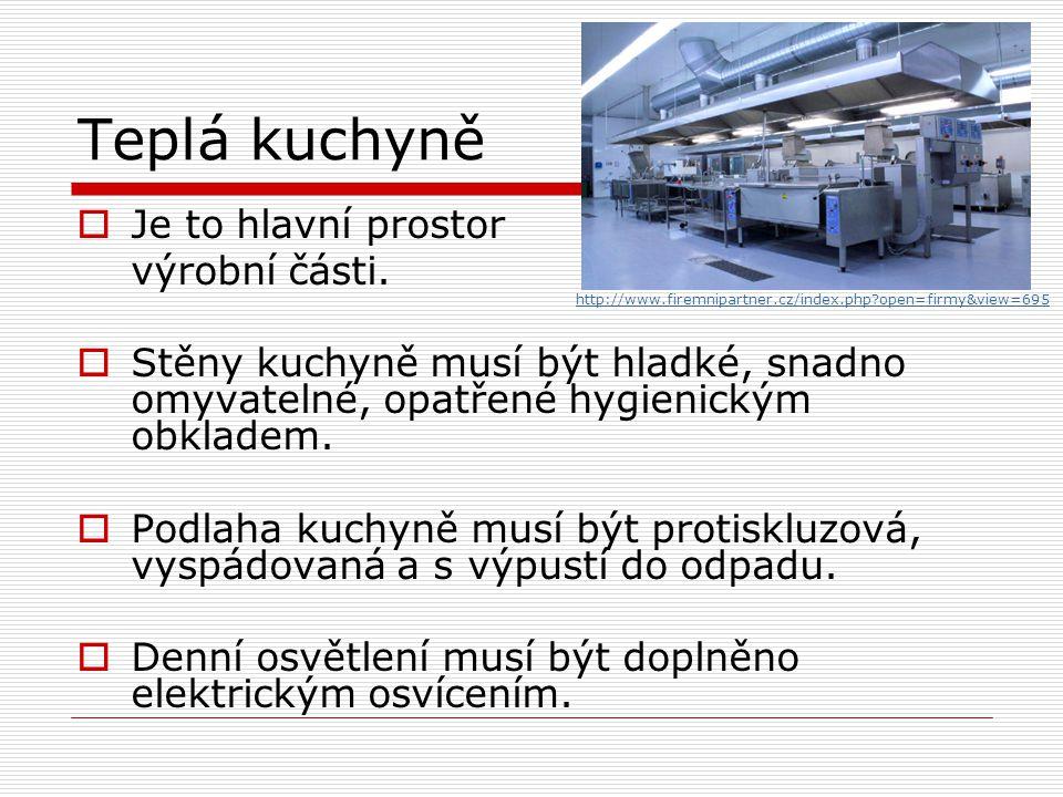 Teplá kuchyně  Je to hlavní prostor výrobní části.  Stěny kuchyně musí být hladké, snadno omyvatelné, opatřené hygienickým obkladem.  Podlaha kuchy