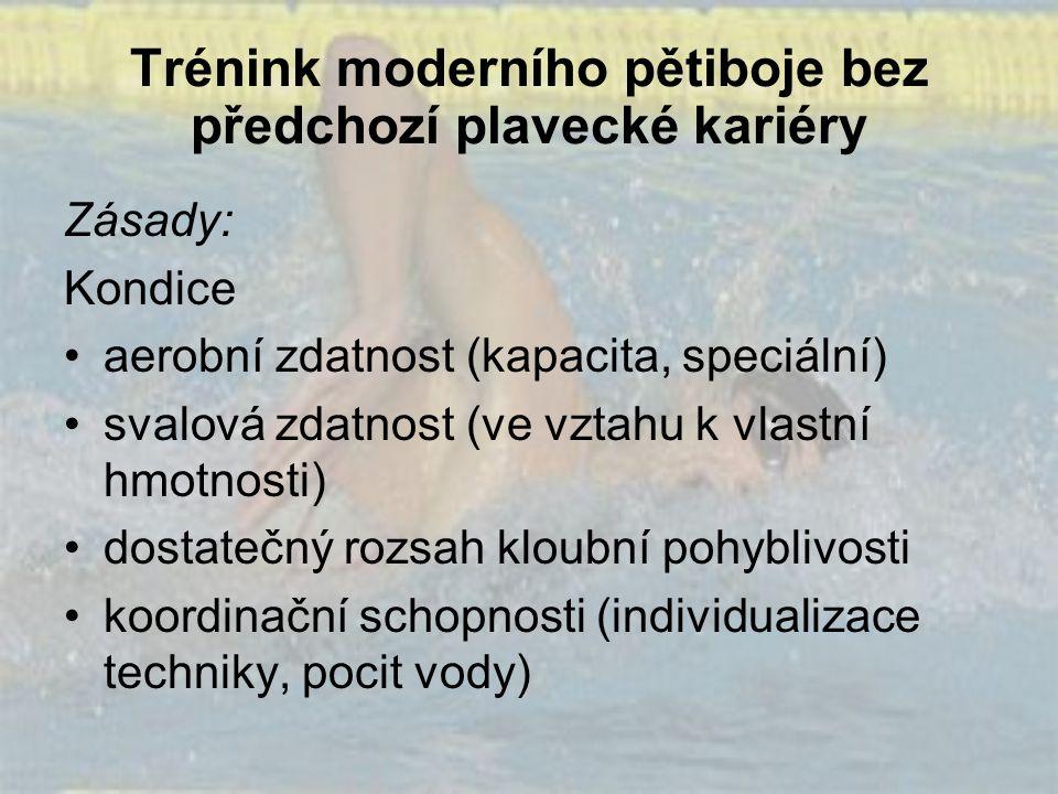 Trénink moderního pětiboje bez předchozí plavecké kariéry Zásady: Kondice aerobní zdatnost (kapacita, speciální) svalová zdatnost (ve vztahu k vlastní