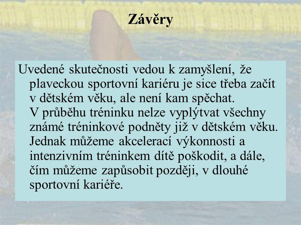 Závěry Uvedené skutečnosti vedou k zamyšlení, že plaveckou sportovní kariéru je sice třeba začít v dětském věku, ale není kam spěchat. V průběhu tréni