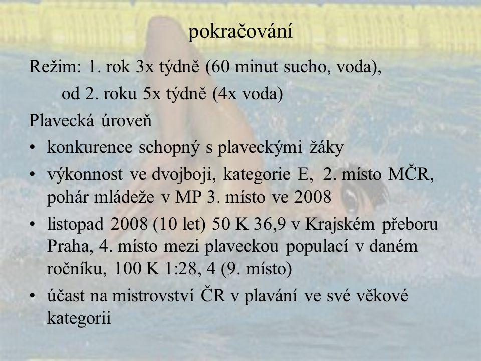 pokračování Režim: 1. rok 3x týdně (60 minut sucho, voda), od 2. roku 5x týdně (4x voda) Plavecká úroveň konkurence schopný s plaveckými žáky výkonnos