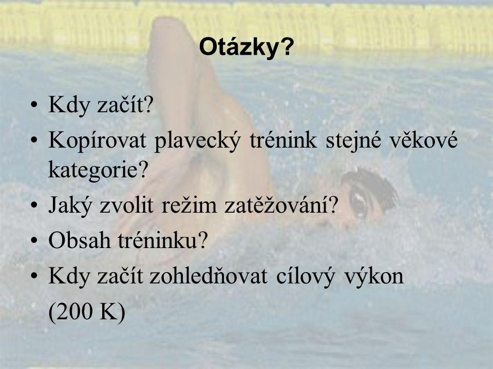 Otázky? Kdy začít? Kopírovat plavecký trénink stejné věkové kategorie? Jaký zvolit režim zatěžování? Obsah tréninku? Kdy začít zohledňovat cílový výko