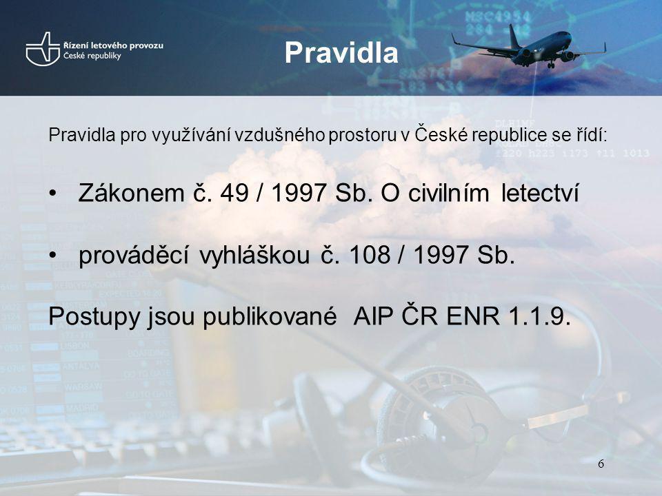 Pravidla Pravidla pro využívání vzdušného prostoru v České republice se řídí: Zákonem č. 49 / 1997 Sb. O civilním letectví prováděcí vyhláškou č. 108
