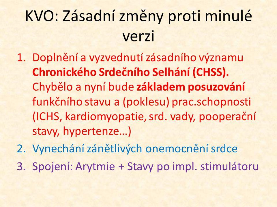KVO: Zásadní změny proti minulé verzi 1.Doplnění a vyzvednutí zásadního významu Chronického Srdečního Selhání (CHSS).