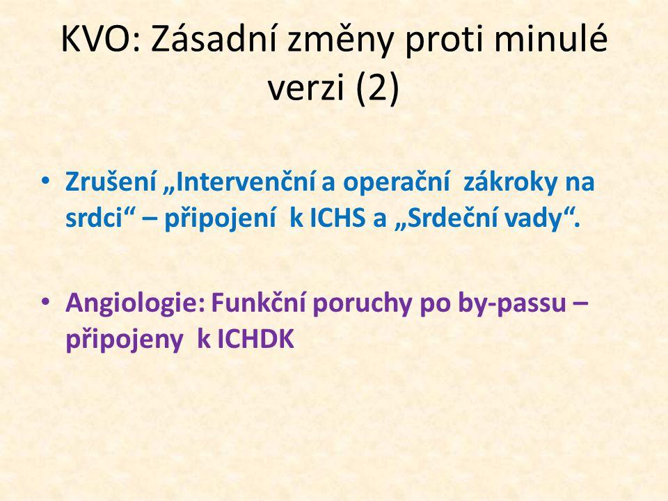 """KVO: Zásadní změny proti minulé verzi (2) Zrušení """"Intervenční a operační zákroky na srdci – připojení k ICHS a """"Srdeční vady ."""