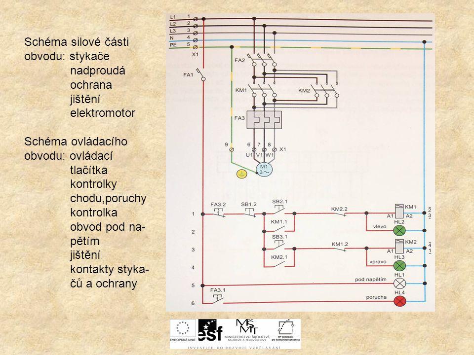 Schéma silové části obvodu: stykače nadproudá ochrana jištění elektromotor Schéma ovládacího obvodu: ovládací tlačítka kontrolky chodu,poruchy kontrol