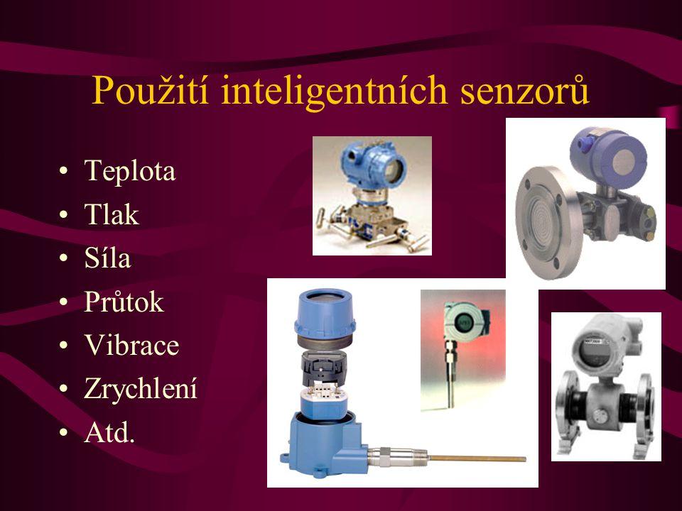 Použití inteligentních senzorů Teplota Tlak Síla Průtok Vibrace Zrychlení Atd.