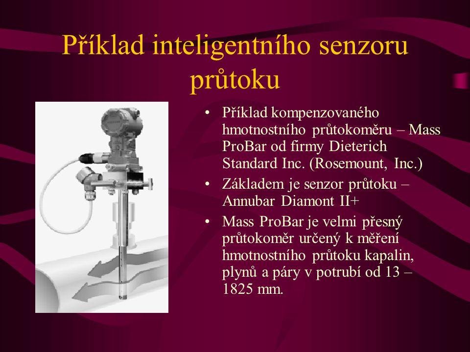 Příklad inteligentního senzoru průtoku Příklad kompenzovaného hmotnostního průtokoměru – Mass ProBar od firmy Dieterich Standard Inc. (Rosemount, Inc.