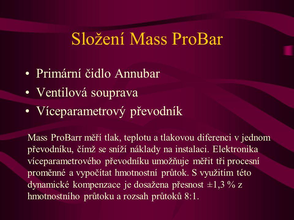 Složení Mass ProBar Primární čidlo Annubar Ventilová souprava Víceparametrový převodník Mass ProBarr měří tlak, teplotu a tlakovou diferenci v jednom