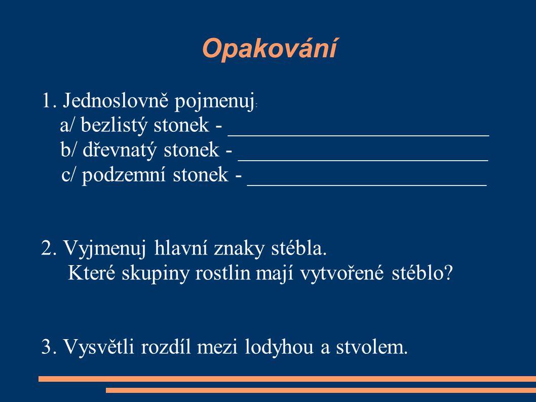 Opakování 1. Jednoslovně pojmenuj : a/ bezlistý stonek - ________________________ b/ dřevnatý stonek - _______________________ c/ podzemní stonek - __