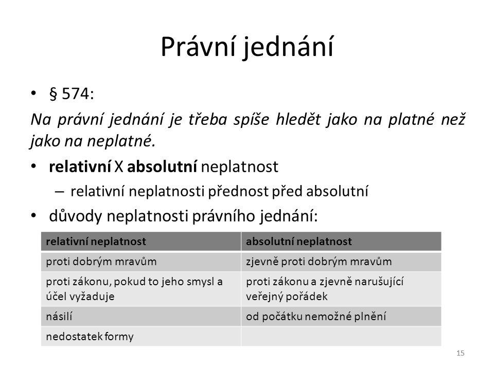 15 Právní jednání § 574: Na právní jednání je třeba spíše hledět jako na platné než jako na neplatné.