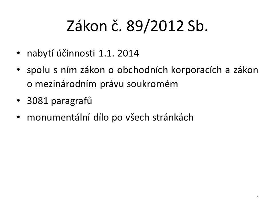 3 Zákon č.89/2012 Sb. nabytí účinnosti 1.1.