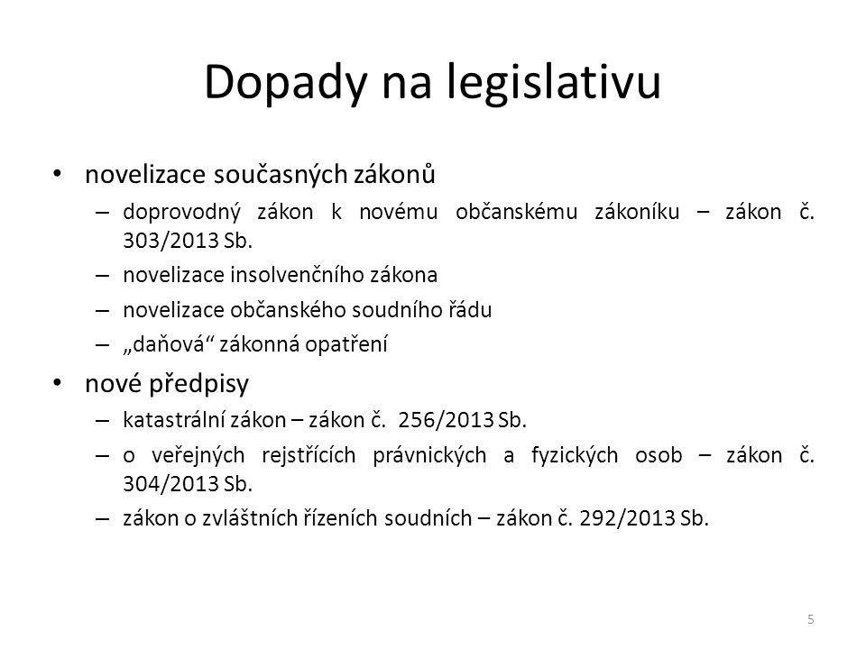 Dopady na legislativu novelizace současných zákonů – doprovodný zákon k novému občanskému zákoníku – zákon č.