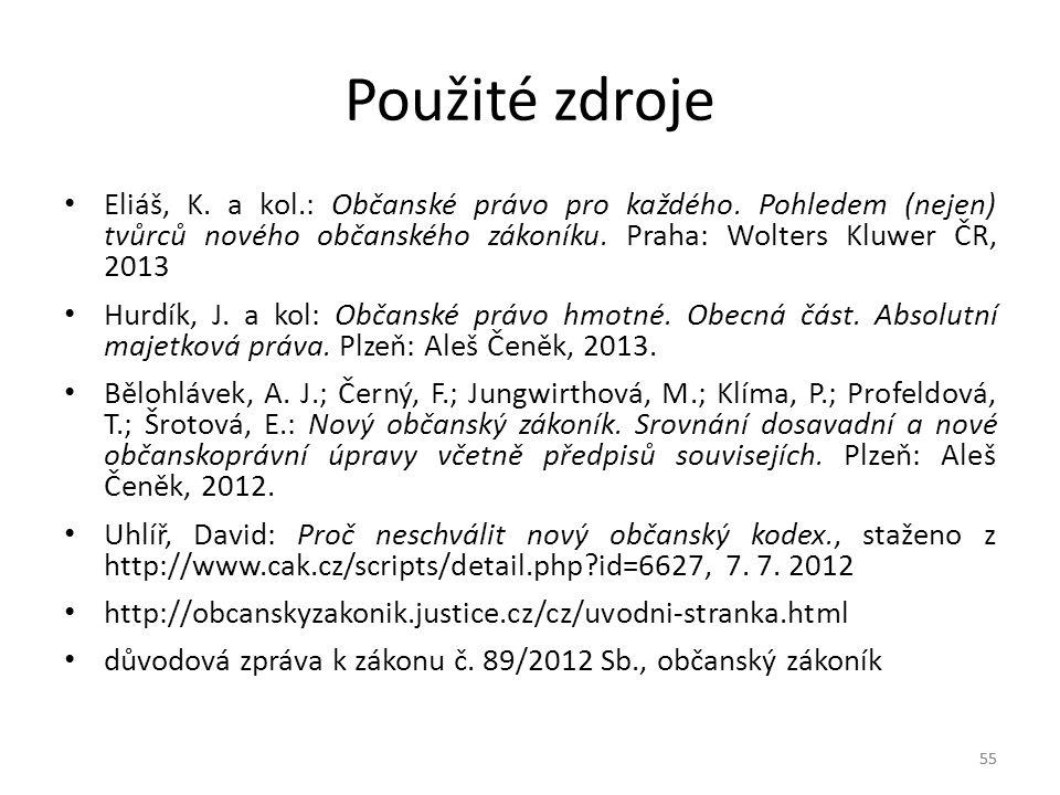 55 Použité zdroje Eliáš, K.a kol.: Občanské právo pro každého.