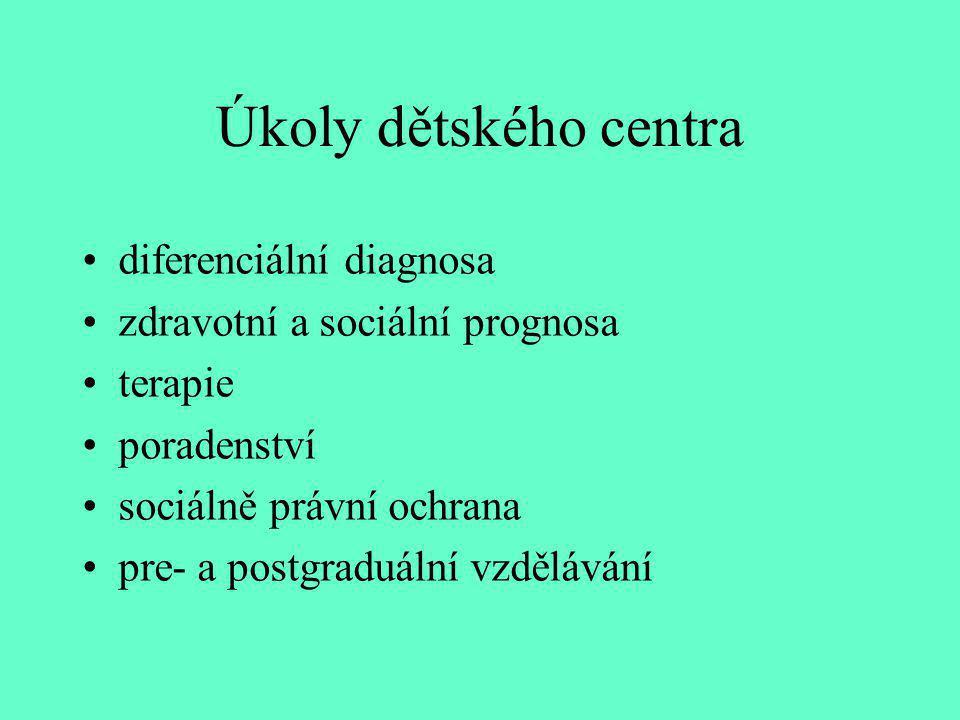 Úkoly dětského centra diferenciální diagnosa zdravotní a sociální prognosa terapie poradenství sociálně právní ochrana pre- a postgraduální vzdělávání