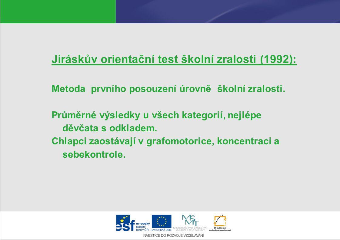 Jiráskův orientační test školní zralosti (1992): Metoda prvního posouzení úrovně školní zralosti. Průměrné výsledky u všech kategorií, nejlépe děvčata