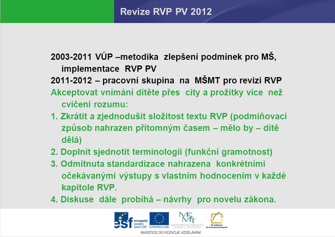Revize RVP PV 2012 2003-2011 VÚP –metodika zlepšení podmínek pro MŠ, implementace RVP PV 2011-2012 – pracovní skupina na MŠMT pro revizi RVP Akceptova