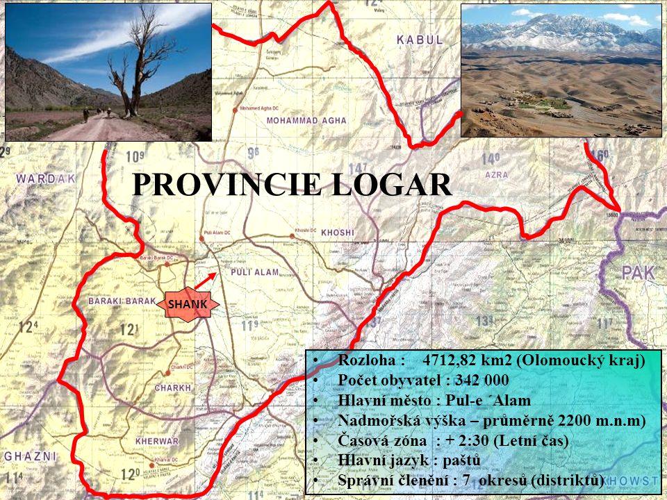 PROVINCIE LOGAR SHANK Rozloha : 4712,82 km2 (Olomoucký kraj) Počet obyvatel : 342 000 Hlavní město : Pul-e ´Alam Nadmořská výška – průměrně 2200 m.n.m