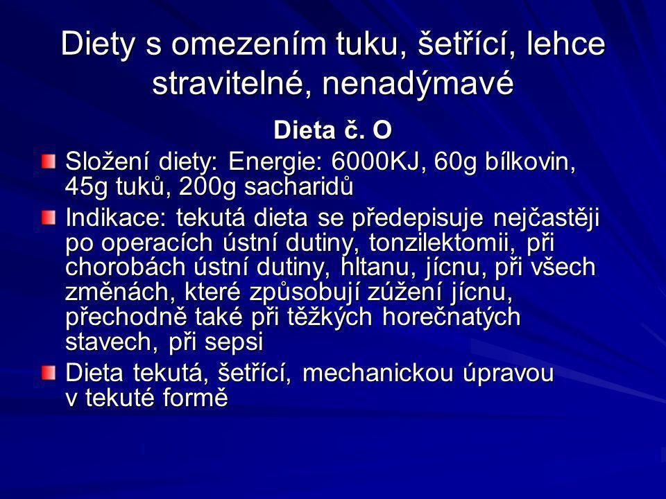 Diety s omezením tuku, šetřící, lehce stravitelné, nenadýmavé Dieta č. O Složení diety: Energie: 6000KJ, 60g bílkovin, 45g tuků, 200g sacharidů Indika
