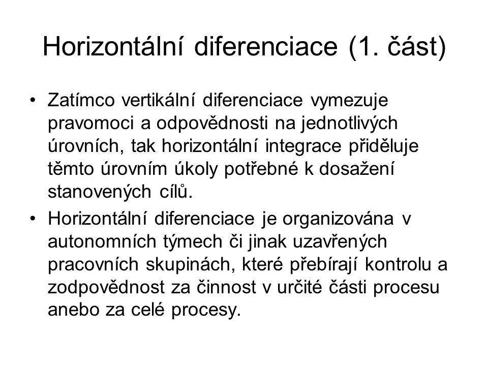 Horizontální diferenciace (1. část) Zatímco vertikální diferenciace vymezuje pravomoci a odpovědnosti na jednotlivých úrovních, tak horizontální integ