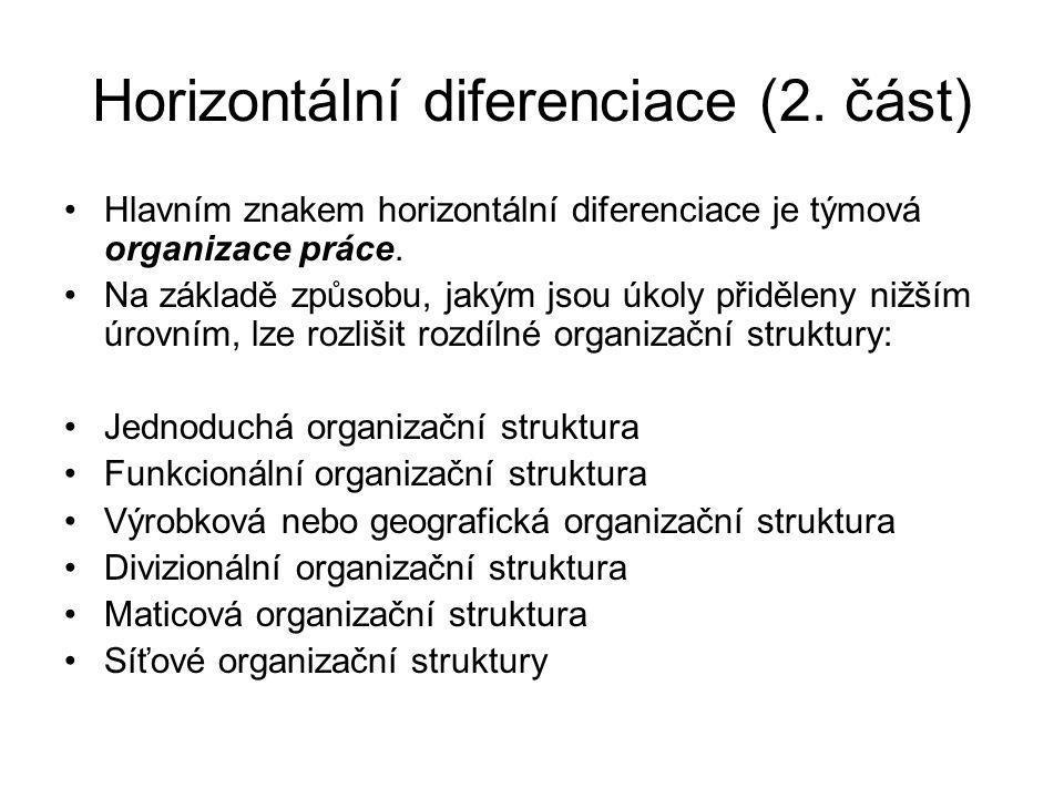 Horizontální diferenciace (2. část) Hlavním znakem horizontální diferenciace je týmová organizace práce. Na základě způsobu, jakým jsou úkoly přidělen