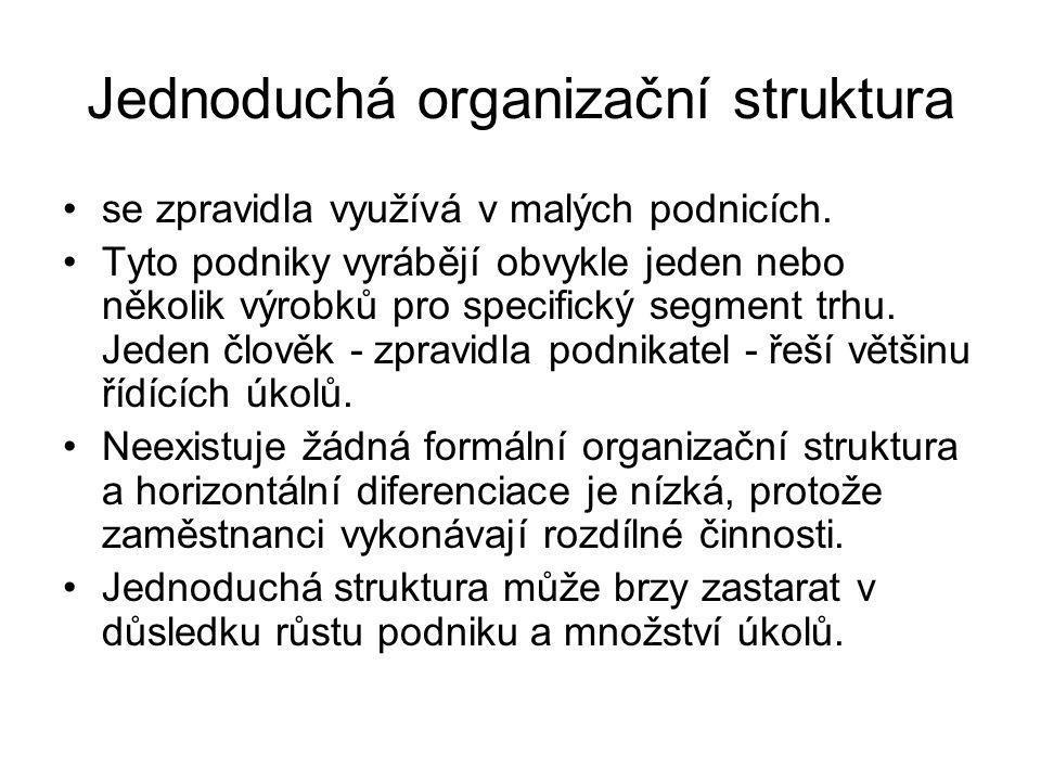 Jednoduchá organizační struktura se zpravidla využívá v malých podnicích. Tyto podniky vyrábějí obvykle jeden nebo několik výrobků pro specifický segm