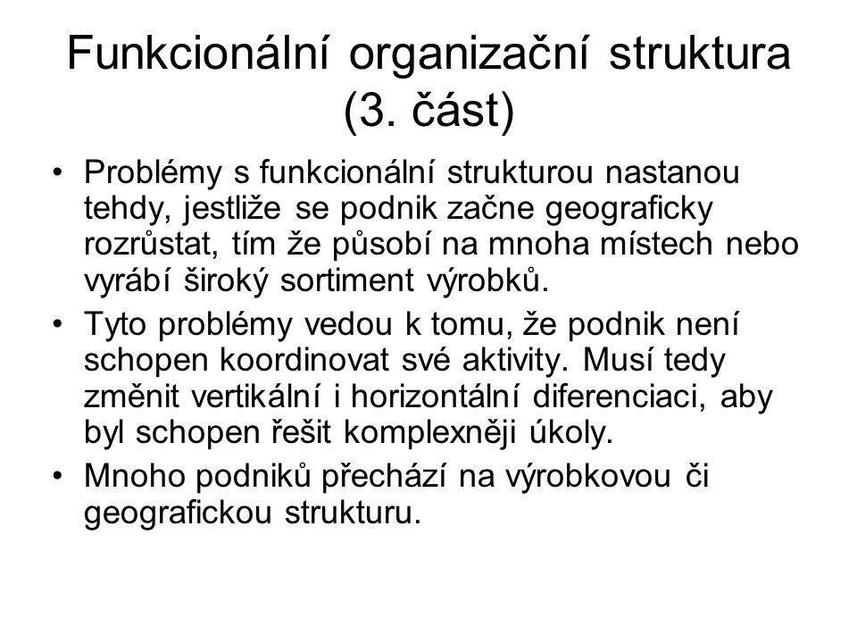 Funkcionální organizační struktura (3. část) Problémy s funkcionální strukturou nastanou tehdy, jestliže se podnik začne geograficky rozrůstat, tím že