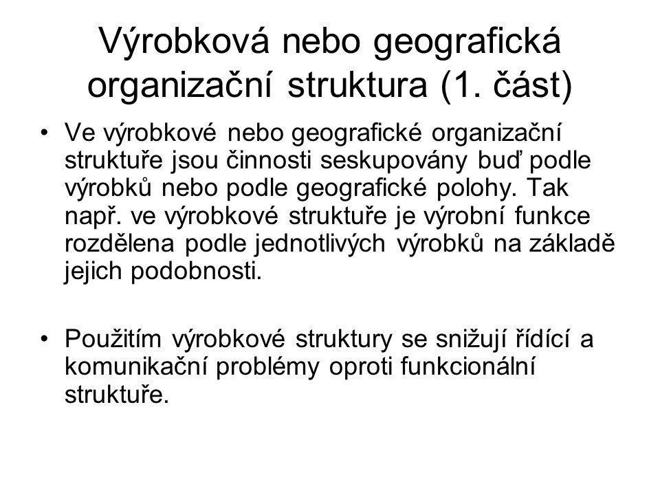 Výrobková nebo geografická organizační struktura (1. část) Ve výrobkové nebo geografické organizační struktuře jsou činnosti seskupovány buď podle výr