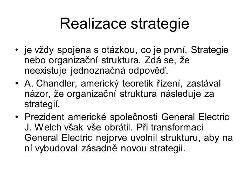 Realizace strategie je vždy spojena s otázkou, co je první. Strategie nebo organizační struktura. Zdá se, že neexistuje jednoznačná odpověď. A. Chandl
