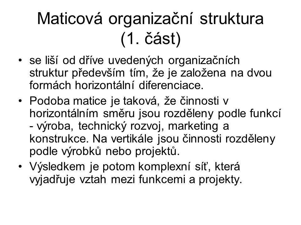 Maticová organizační struktura (1. část) se liší od dříve uvedených organizačních struktur především tím, že je založena na dvou formách horizontální