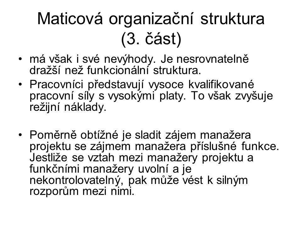 Maticová organizační struktura (3. část) má však i své nevýhody. Je nesrovnatelně dražší než funkcionální struktura. Pracovníci představují vysoce kva